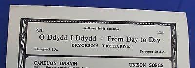 Vintage sheet music Welsh O Ddydd I Ddydd FROM DAY TO DAY church choir song SA